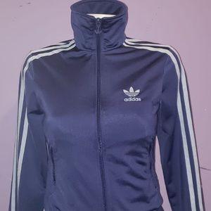 Adidas Blue-Purple Zip Up to Neck Sweater